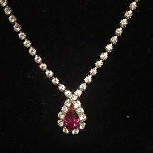 18 inch single strand rhinestone necklace Redstone